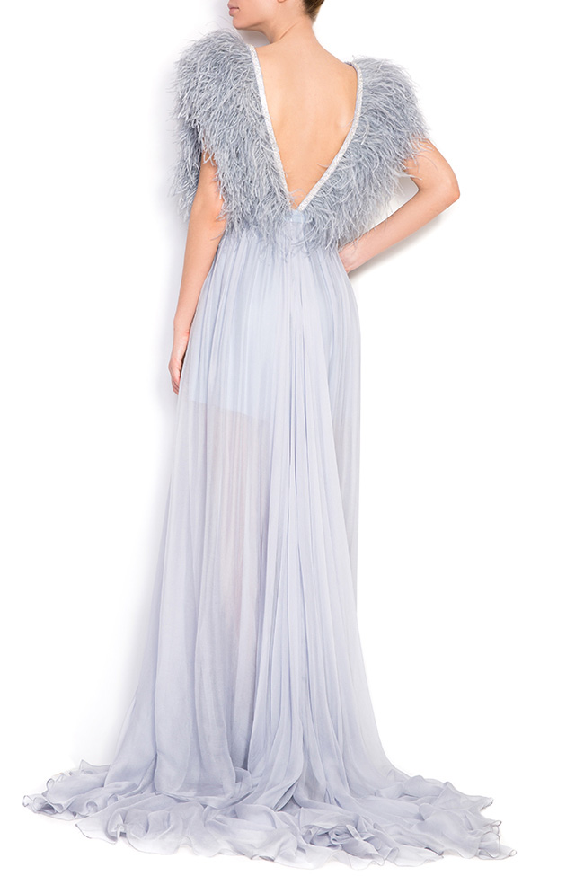 Feathered-trimmed silk gown Manuri image 2