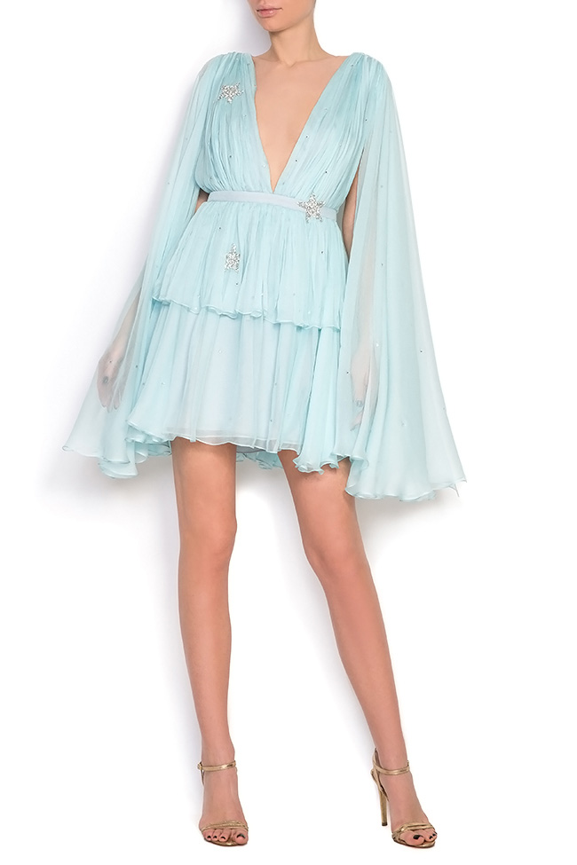 Embellished ruffled silk mini dress Manuri image 0