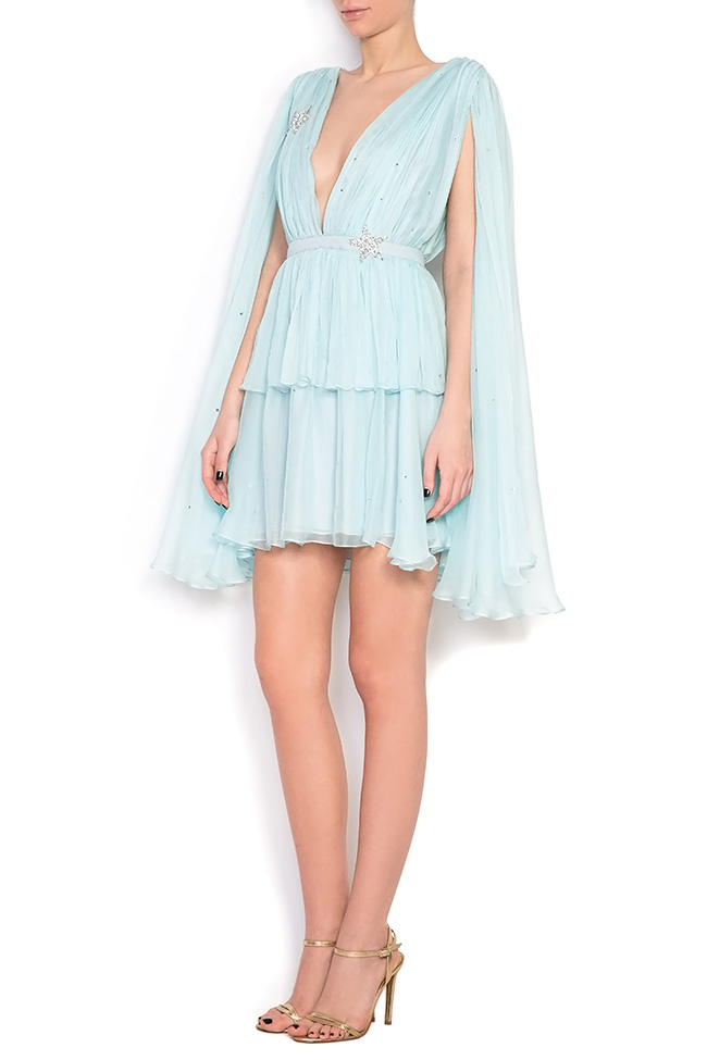 Embellished ruffled silk mini dress Manuri image 1