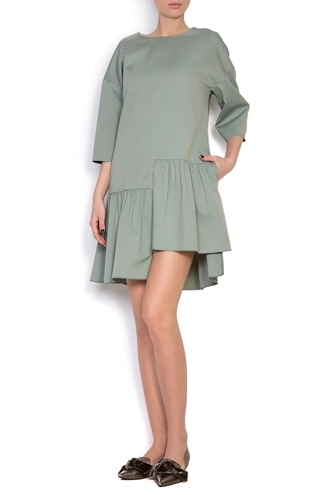Asymmetric ruffled cotton mini dress BLUZAT image 0