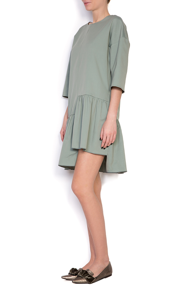 Asymmetric ruffled cotton mini dress BLUZAT image 1
