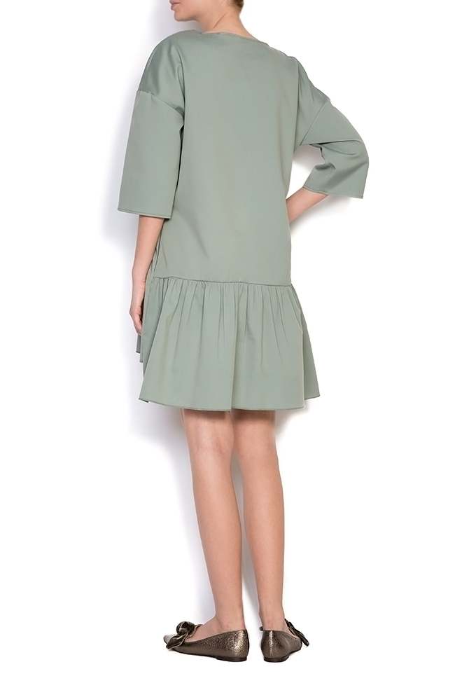 Asymmetric ruffled cotton mini dress BLUZAT image 2