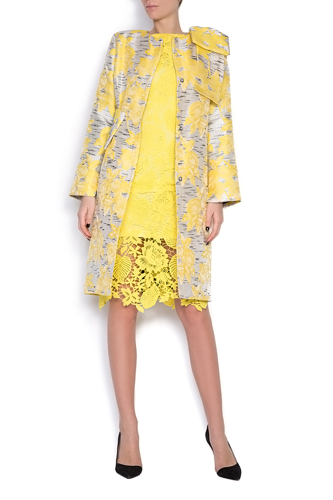 Pan bow-embellished jacquard coat LRM image 3