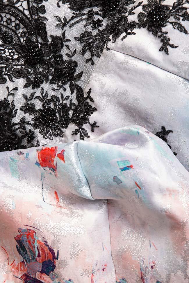 Rochie din organza de matase si dantela brodata manual Elena Perseil imagine 4