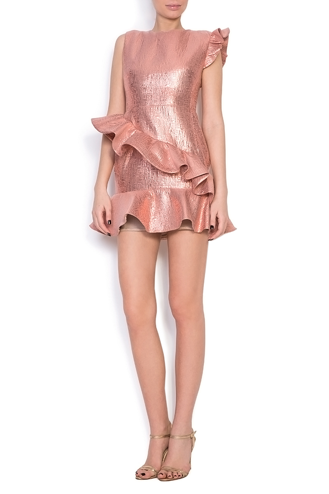 Lula ruffled metallic cotton-blend jacquard mini dress Simona Semen image 0