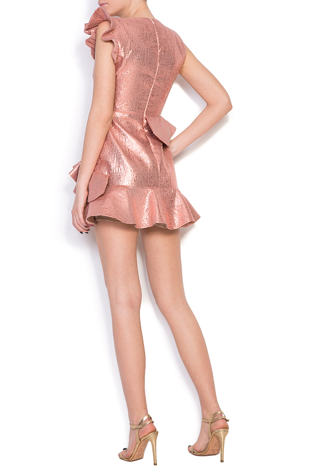 Lula ruffled metallic cotton-blend jacquard mini dress Simona Semen image 2