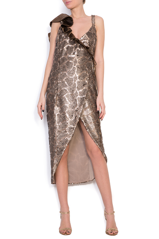Sequined silk-georgette wrap dress Simona Semen image 0