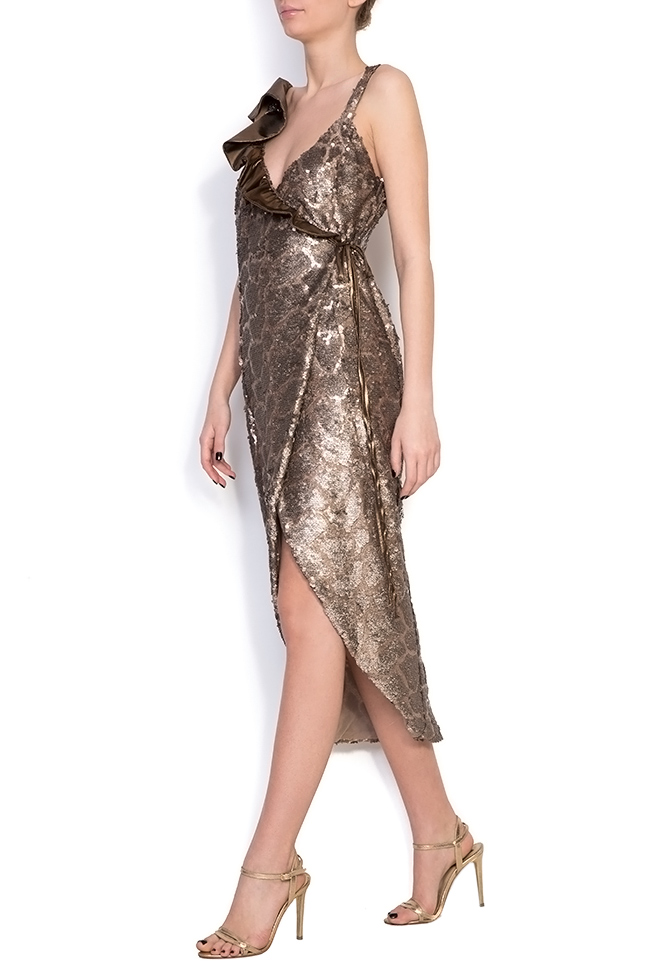 Sequined silk-georgette wrap dress Simona Semen image 1