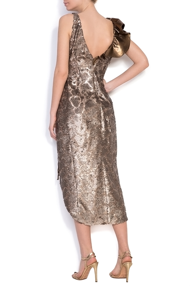 Sequined silk-georgette wrap dress Simona Semen image 2