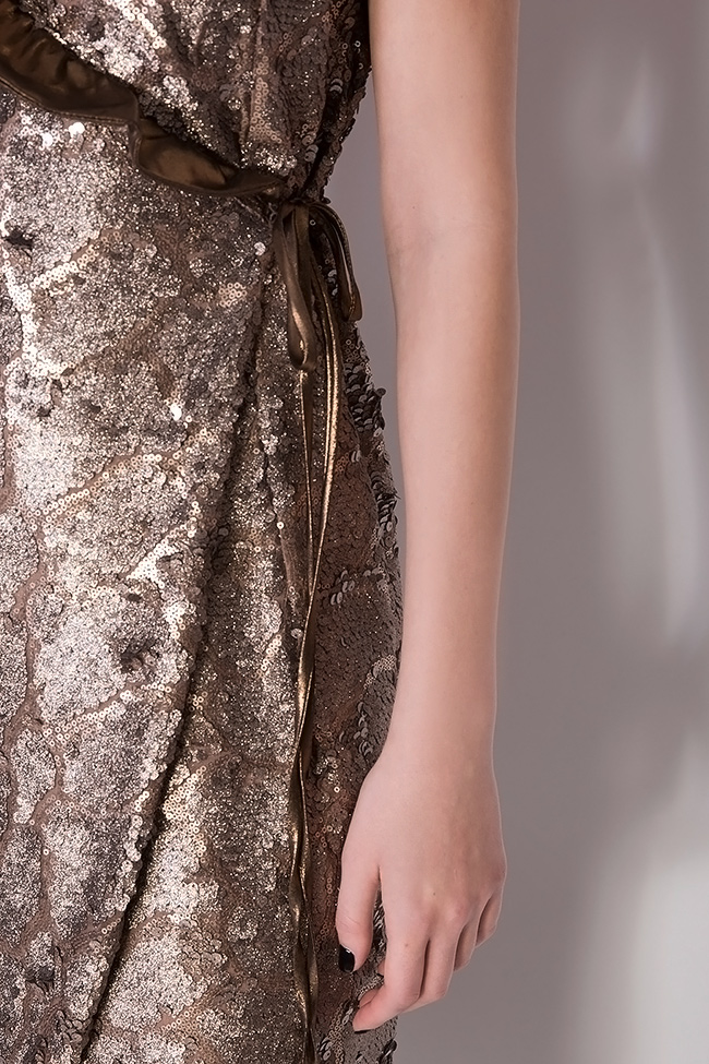 Sequined silk-georgette wrap dress Simona Semen image 3