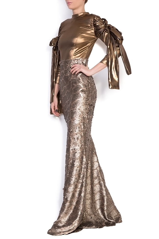 Robe sirène en voile et sequins, Leela Simona Semen image 1