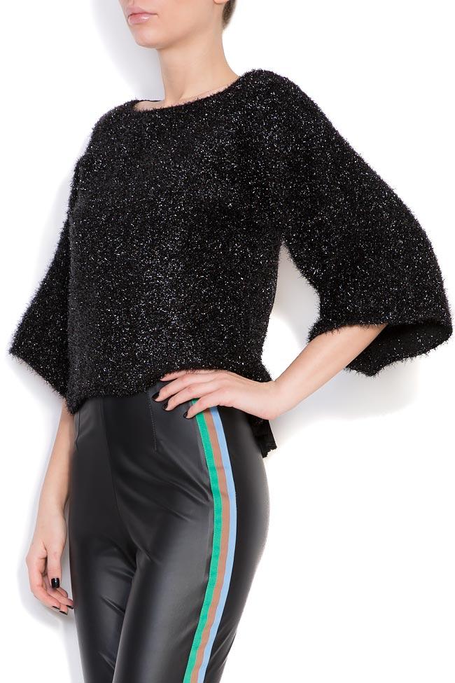 Maxx mesh-paneled cotton-blend metallic knitted top Dorin Negrau image 1