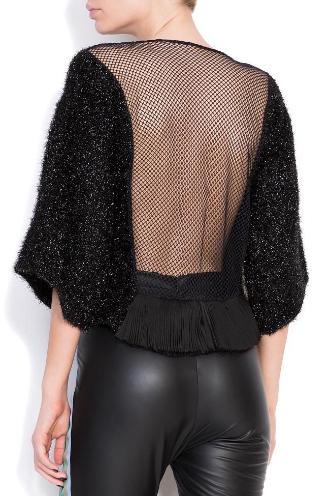 Maxx mesh-paneled cotton-blend metallic knitted top Dorin Negrau image 2