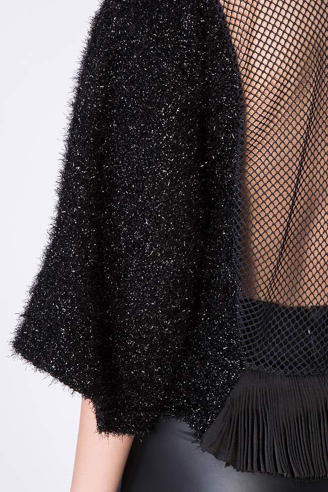 Maxx mesh-paneled cotton-blend metallic knitted top Dorin Negrau image 3