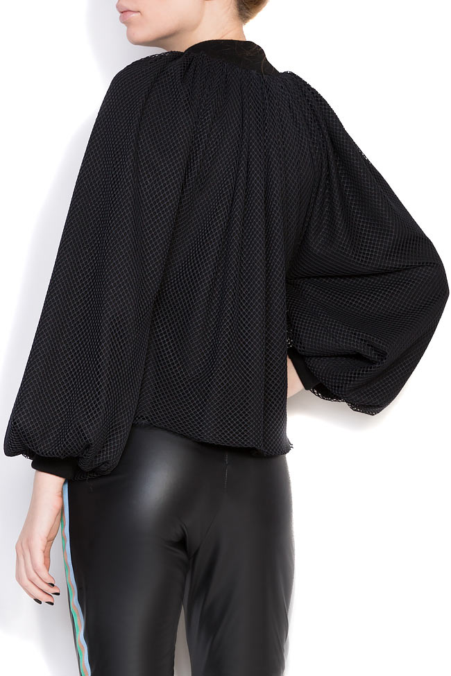 Homepla mesh-trimmed jersey blouse Dorin Negrau image 2