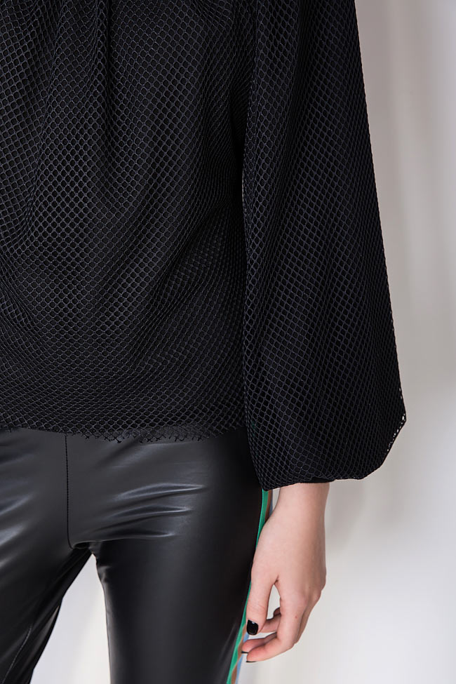 Homepla mesh-trimmed jersey blouse Dorin Negrau image 3