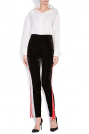 Hard Coeur Striped velvet tapered pants