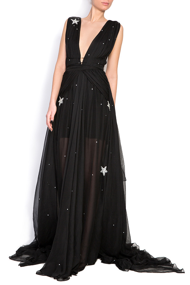 Embellished star silk gown Manuri image 0