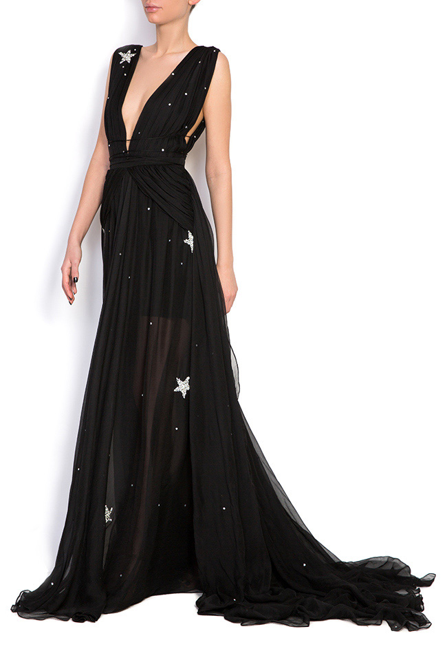 Embellished star silk gown Manuri image 1