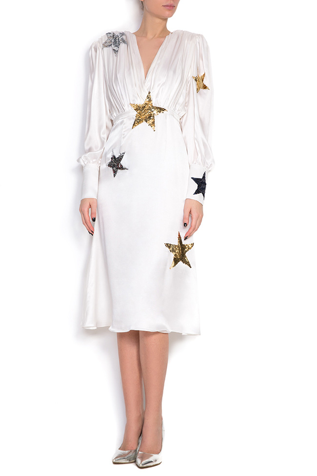 Embellished silk midi dress Manuri image 0