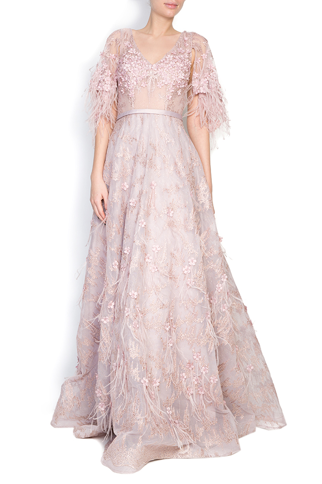 Feather-trimmed bead-embellished silk gown  Elena Perseil image 0