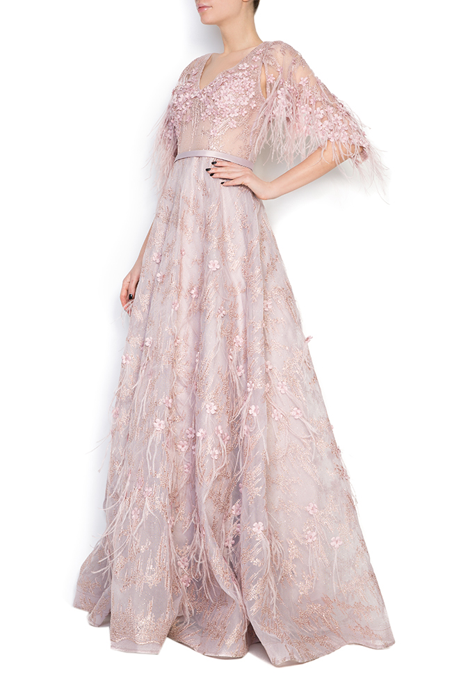 Feather-trimmed bead-embellished silk gown  Elena Perseil image 1