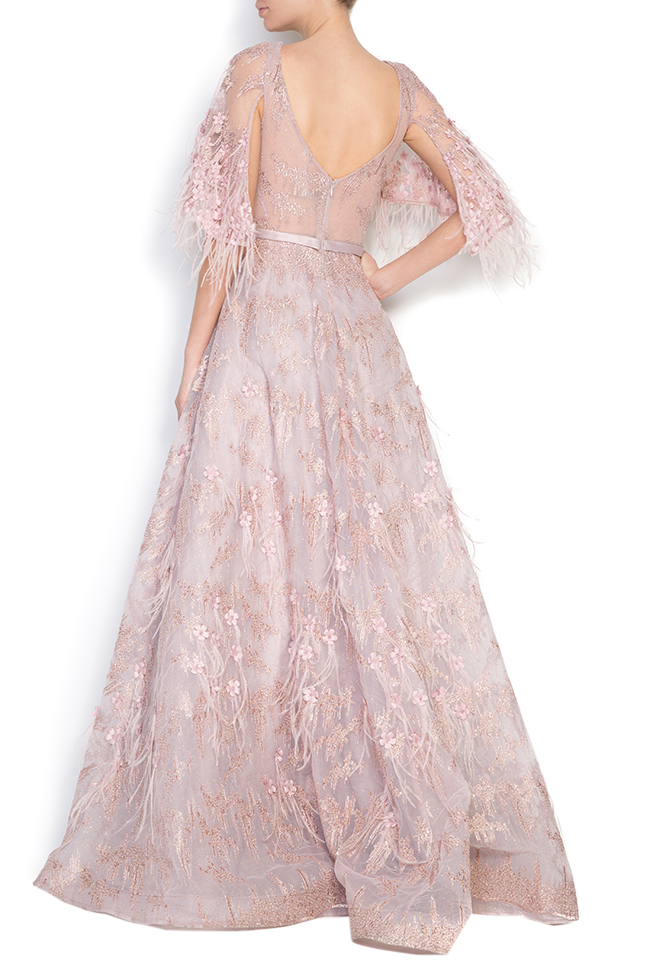 Feather-trimmed bead-embellished silk gown  Elena Perseil image 2