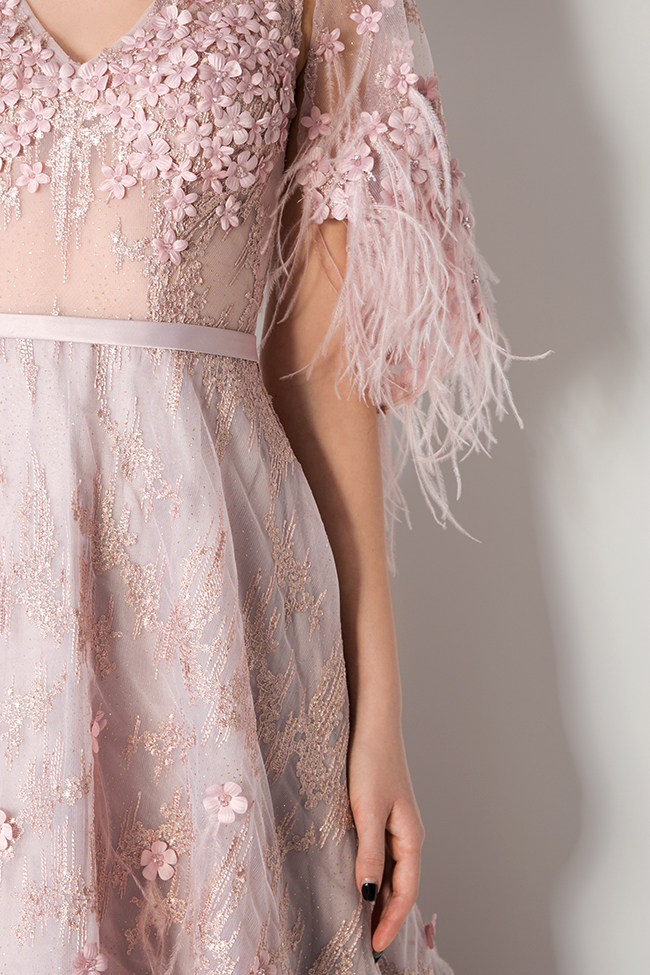 Feather-trimmed bead-embellished silk gown  Elena Perseil image 3