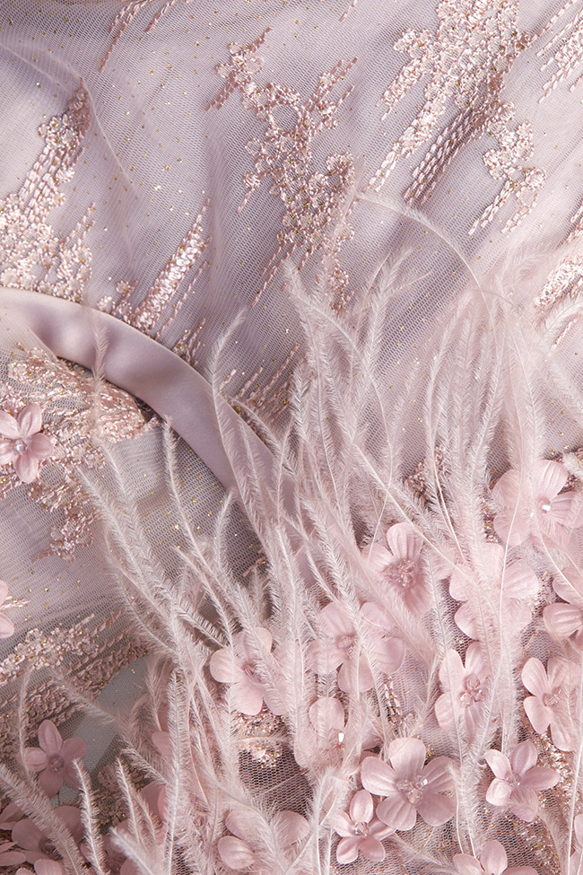 Feather-trimmed bead-embellished silk gown  Elena Perseil image 4