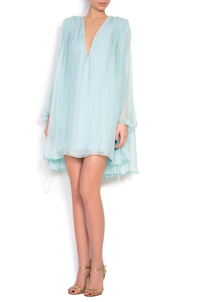 Cape-effect silk mini dress Manuri image 0