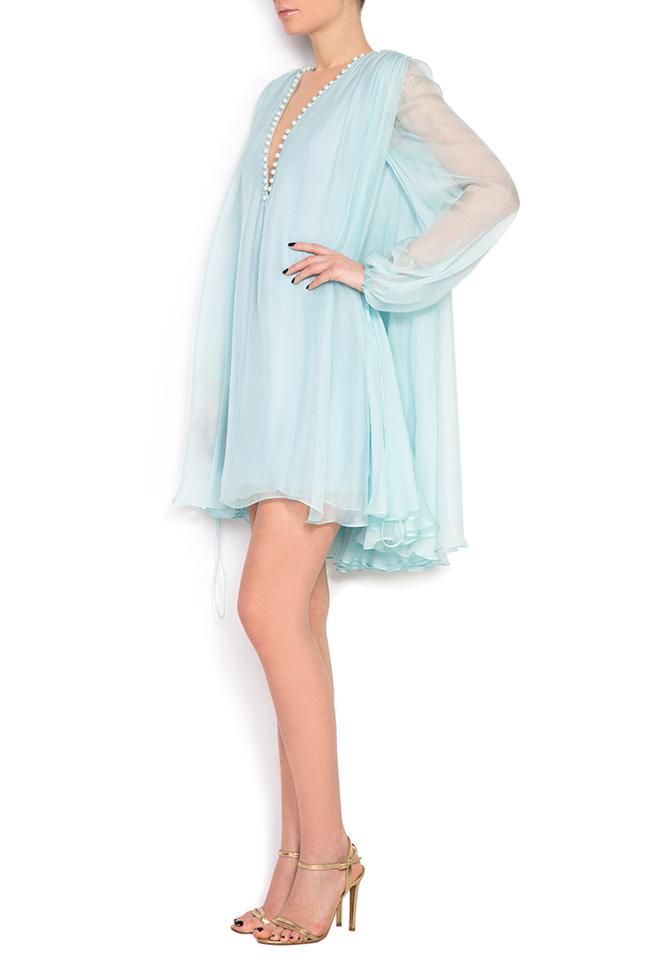 Cape-effect silk mini dress Manuri image 1