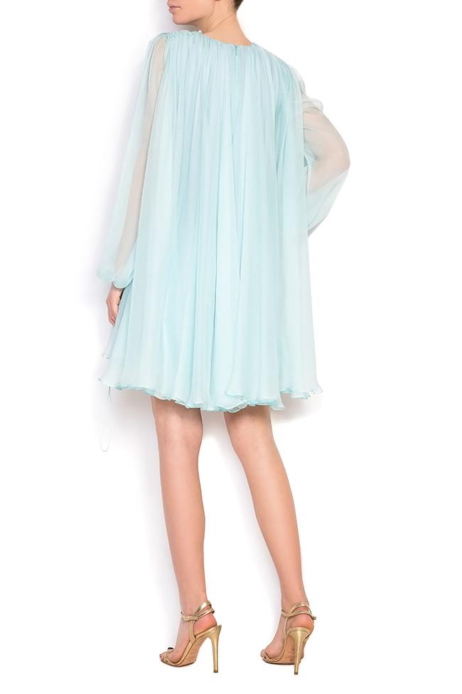 Cape-effect silk mini dress Manuri image 2