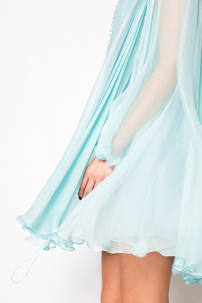 Cape-effect silk mini dress Manuri image 3