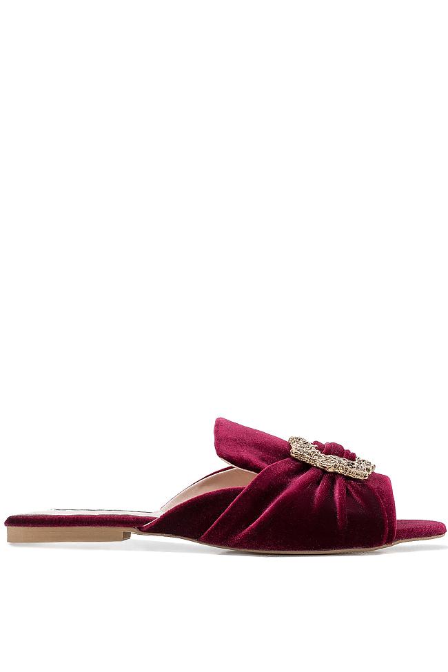 Papuci din catifea cu accesoriu din metal Ana Kaloni imagine 0