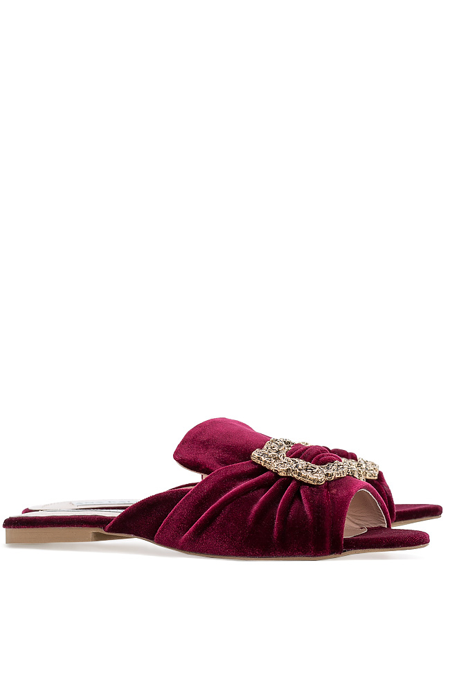 Embellished velvet platform slides Ana Kaloni image 1