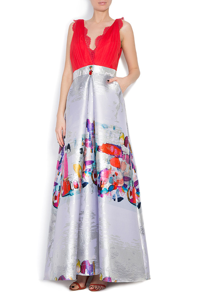 Printed silk taffeta gown Elena Perseil image 0