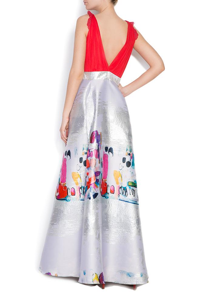 Printed silk taffeta gown Elena Perseil image 2