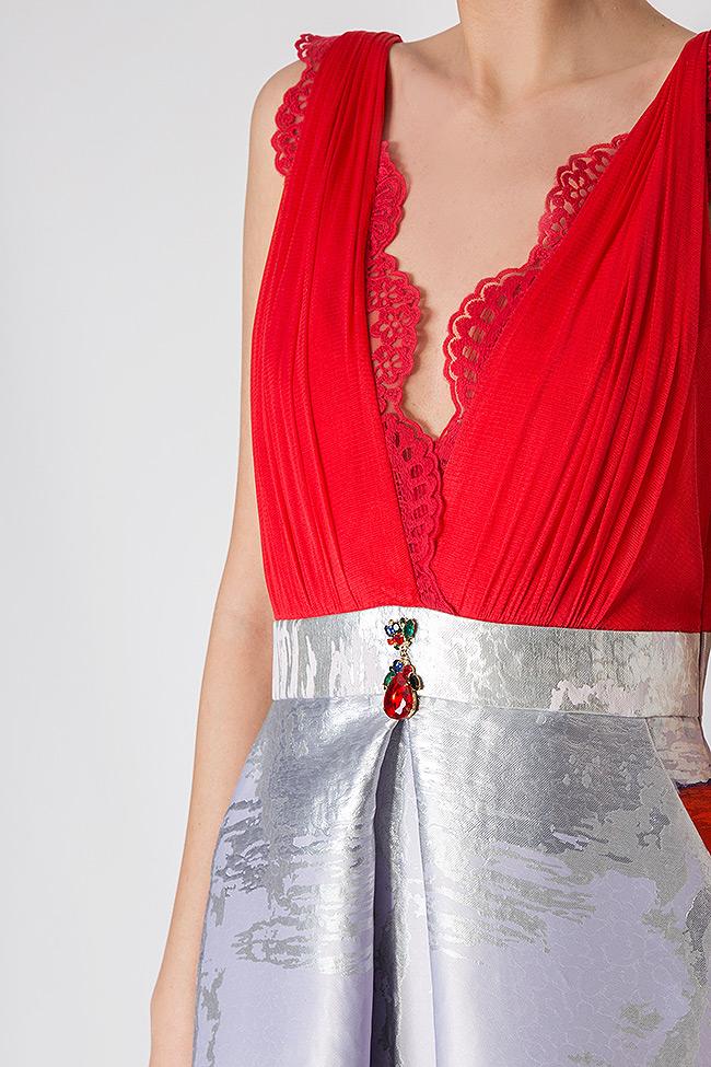 Printed silk taffeta gown Elena Perseil image 3