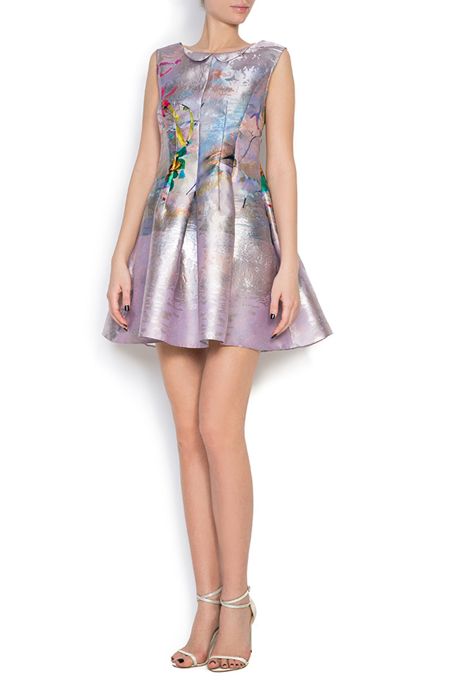 Printed silk taffeta lamé mini dress Elena Perseil image 0