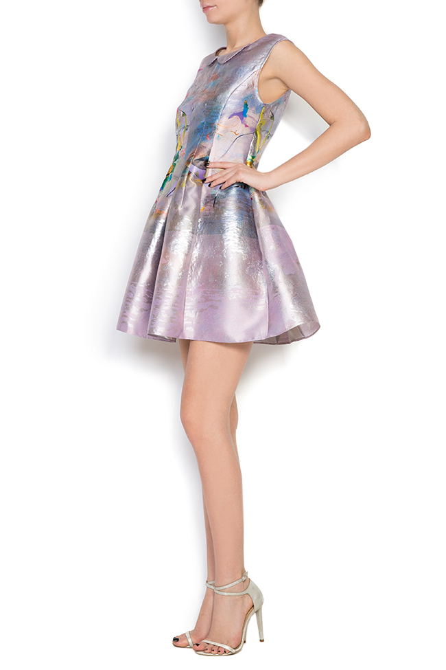 Printed silk taffeta lamé mini dress Elena Perseil image 1