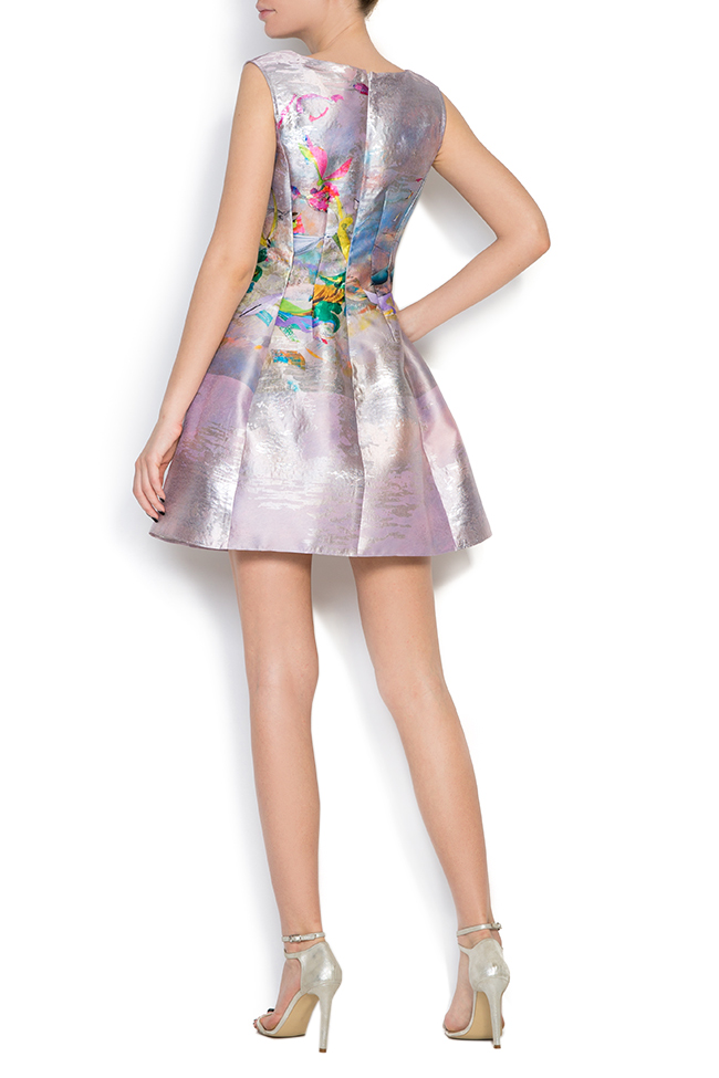 Printed silk taffeta lamé mini dress Elena Perseil image 2