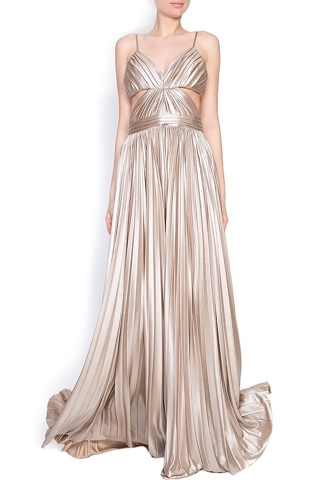 Gold cutout pleated silk-blend lamé gown Elena Perseil image 0