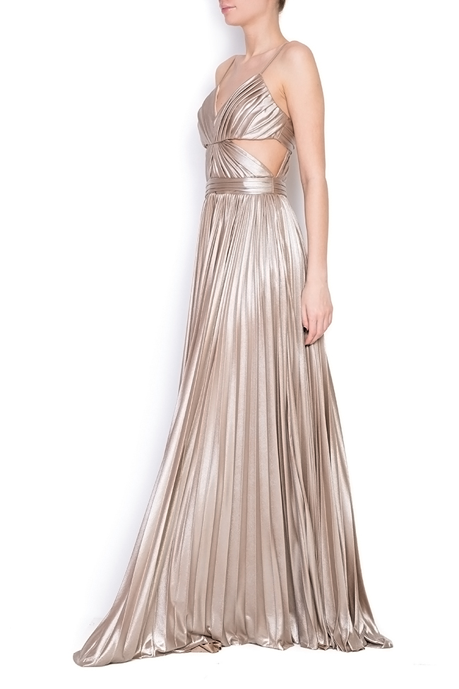 Gold cutout pleated silk-blend lamé gown Elena Perseil image 1