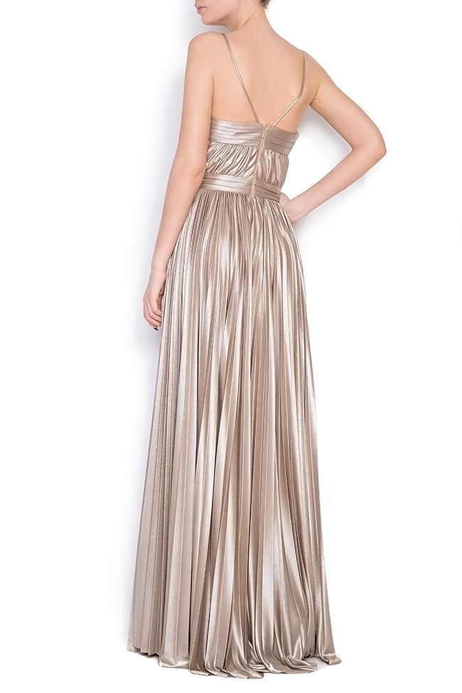 Gold cutout pleated silk-blend lamé gown Elena Perseil image 2