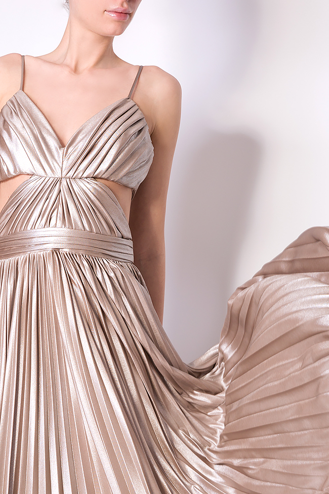 Gold cutout pleated silk-blend lamé gown Elena Perseil image 3