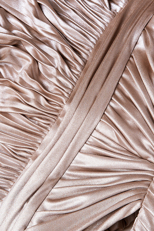 Gold cutout pleated silk-blend lamé gown Elena Perseil image 4