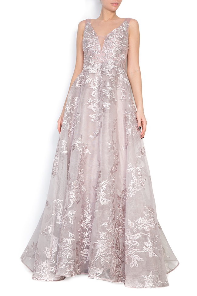 Embroidered silk tulle gown Elena Perseil image 0