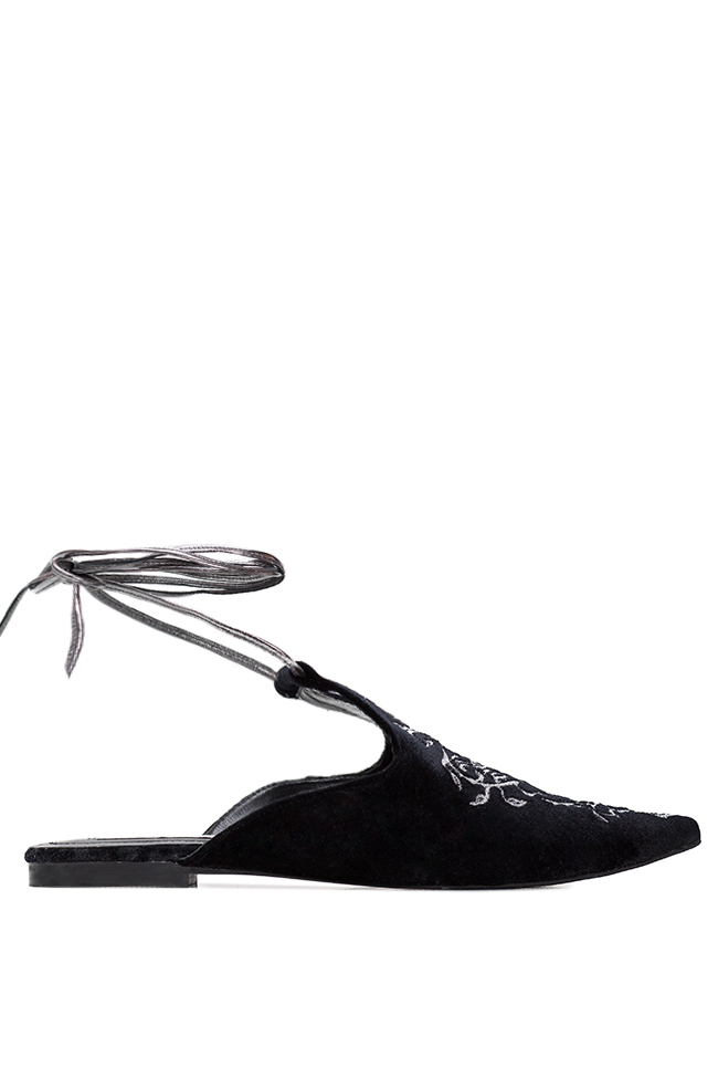 Embroidered lace-up suede flats Ana Kaloni image 0