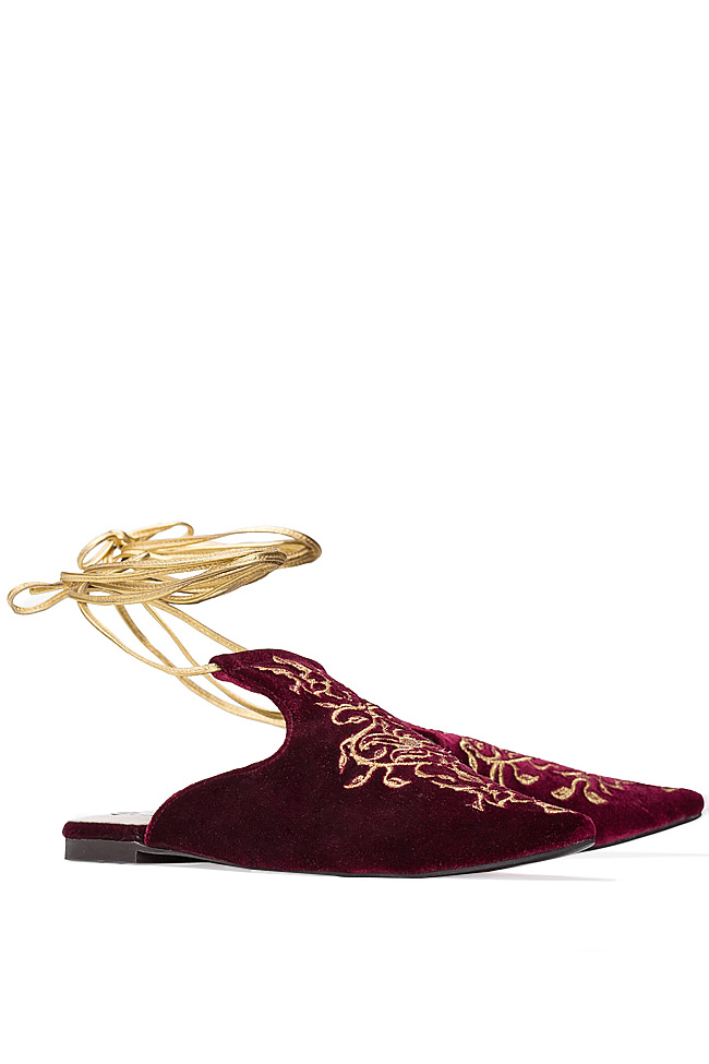 Embroidered lace-up suede flats Ana Kaloni image 1
