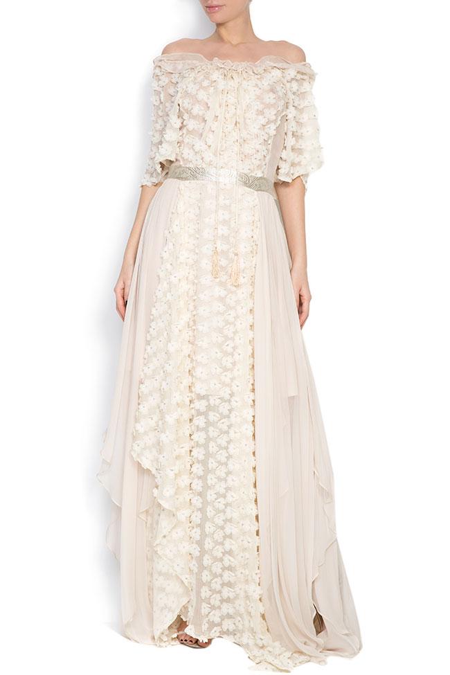 Robe asymétrique en soie, avec des broderies cousues à la main Elena Perseil image 0